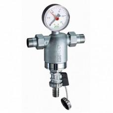 "Фильтр FAR 1/2"" НР-НР, с манометром, 100мкм, Max: 95 °C, 25 бар"