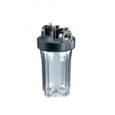 """Корпус Гидротек ВВ 10""""x1"""" прозрачный, для холодной воды (латунные вставки)"""
