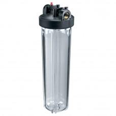 """Корпус Гидротек ВВ 20""""x1"""" прозрачный, для холодной воды (латунные вставки)"""