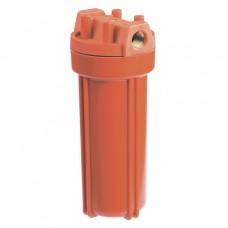 """Корпус Гидротек 10SL 1/2"""" оранж., для горячей воды (латунные вставки)"""