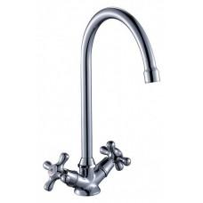 Смеситель двухзахватный для кухни с высоким поворотным изливом 260мм, керамика  Q02-72*