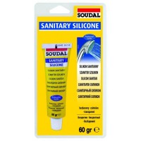 Герметик Soudal силиконовый санитарный белый 12*60 гр (в блистерах)
