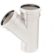Тройник канализационный двухраструбный Uponor Decibel пп 110х110х45* белый