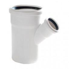 Тройник канализационный двухраструбный Uponor Decibel пп 110х50х45* белый