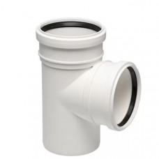 Тройник канализационный двухраструбный Uponor Decibel пп 50х50х45* белый