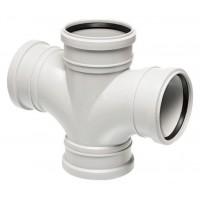 Крестовина канализационная раструбная Uponor Decibel пп 110х110х88,5* белая