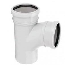 Тройник канализационный двухраструбный закругленный Uponor Decibel пп 110х110х88,5* белый