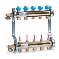"""Коллектор Watts HKV/T 1""""х 10 вых. c термо-гидравлическими вентилями и расходомерами"""