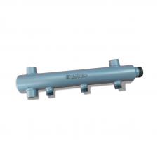 """Коллектор из стали (труба ДУ-40), с м-о расст вых. 100мм, 1""""х 4 вых. 1/2"""" нар."""