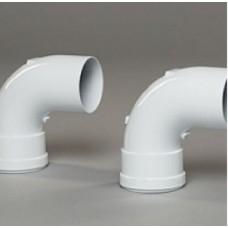 Отвод 90° Gekon нержавеющая сталь, диам. 80 мм, белый