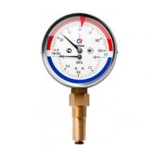 """Термоманометр ТМТБ-41P Dy 100 с нижним подключением 1/2"""", 6 бар 0-120*"""