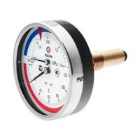 """Термоманометр ТМТБ-41Т Dy 100 с задним подключением 1/2"""", 10 бар 0-120*"""