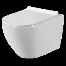 Подвесной унитаз Sole PANDORA 2, безободковый, сид. дюропласт, Soft-close, slim lift, УКОРОЧЕННЫЙ