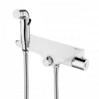 Смеситель настенный термостатический Lemark Solo, с гигиеническим душем, хром/бел