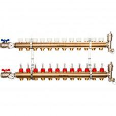 STOUT Распределительный коллектор из латуни с расходомерами 12 вых.