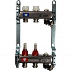STOUT Коллектор из нержавеющей стали с расходомерами, с клапаном вып. воздуха и сливом 2 вых.