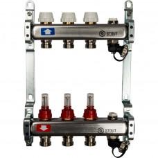 STOUT Коллектор из нержавеющей стали с расходомерами, с клапаном вып. воздуха и сливом 3 вых.