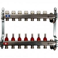 STOUT Коллектор из нержавеющей стали с расходомерами, с клапаном вып. воздуха и сливом 7 вых.