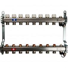 STOUT Коллектор из нержавеющей стали без расходомеров, с клапаном вып. воздуха и сливом 8 вых.
