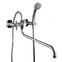 Смеситель двухзахватный для ванны с круглым изливом 350мм, с держателем на теле, керамика, H02-84*