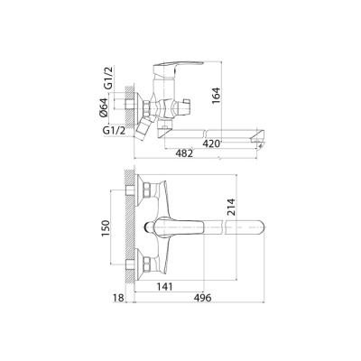 Cмеситель для ванны с длинным изливом и керамическим дивертором Iddis Ray