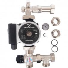 STOUT Насосно-смесительный узел с термостатическим клапаном 30-60°C, с насосом UPSO 25-65, 130 mm