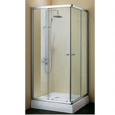 Дверки душевые квадратные, профиль: алюминий, глянцевый хром, для низкого поддона