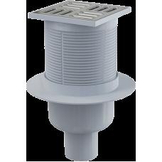 Трап ALCAPLAST 105*105/50 прямой нерж.реш.,  сухой/мокрый затвор SMART APV32