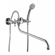 Смеситель двухзахватный для ванны с круглым изливом 350мм, с держателем на теле, керамика, G02-84*