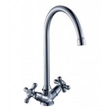Смеситель двухзахватный для кухни с высоким поворотным изливом 260мм, керамика, H02-72*