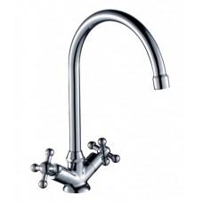 Смеситель двухзахватный для кухни с высоким поворотным изливом 260мм, керамика, G02-72*