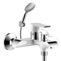 Смеситель однозахватный (35 мм) для ванны с коротким изливом, дивертор с кер. пласт., хром/бел