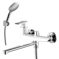 Смеситель однозахватный (35 мм) для ванны с плоским изливом 320 мм, дивертор с кер. пласт., хром/бел